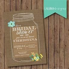 rustic mason jar burlap bridal shower invite floral