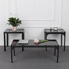 Cf Furniture Living Room 3 Set L Table by 3 Glass Top Coffee End Table Set Metal Frame