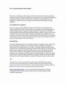 Restaurant Business Plan Examples Free Restaurant Business Plan Template