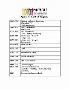 Sample Of Program Agenda Agenda For A Party Program Templates At