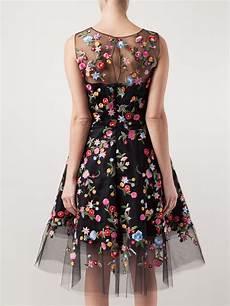 lyst oscar de la renta floral embroidered tulle dress in