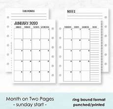 monthly planner 2020 2020 calendar monthly planner fits montblanc small 6 ring