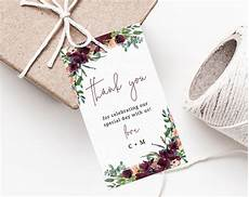 Wedding Favor Tags Burgundy Wedding Favor Tag Template Thank You Tag