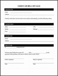 Sale As Is Form For Car Printable Sample Car Bill Of Sale Form Bill Of Sale Car