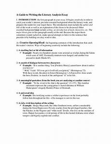 Hamlet Literary Analysis Essay A Guide To Writing The Literary Analysis Essay Literary