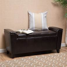 alden tufted faux leather armed storage ottoman bench by