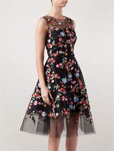 embroidery dress lyst oscar de renta floral embroidered tulle dress in