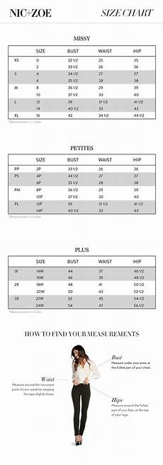 Ll Bean Size Chart Nic Zoe Regular And Plus Size Chart Via Nicandzoe