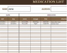 medication calendar template medication list template my excel templates