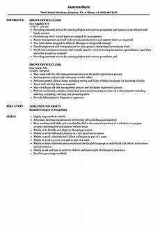 Sample Resume For Office Job Front Office Clerk Resume Samples Velvet Jobs