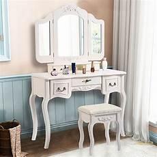 zimtown tri folding white vanity makeup dressing table set