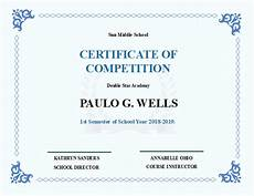 Certificate For Competition School Competition Certificate Free School Competition