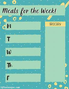 Meal Prep Calendar Weekly Meal Prep Calendar Tiffanie Anne Blog