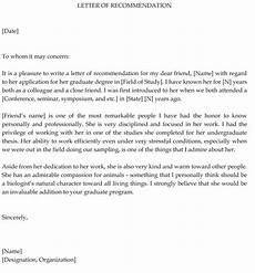Graduate School Letter Of Recommendation Graduate School Recommendation Letter Sample Letters And