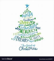 Word Christmas Card Handwritten Christmas Card Word Cloud Tree Design Vector Image