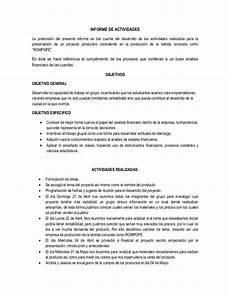 Formato De Informe Escrito Modelo De Informe De Actividades
