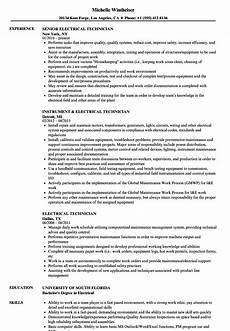 Resume Of Electrical Technician 12 Electrical Technician Resume Example Radaircars Com