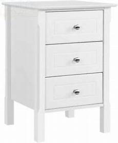 yaheetech white bedside table with 3 drawers wooden side