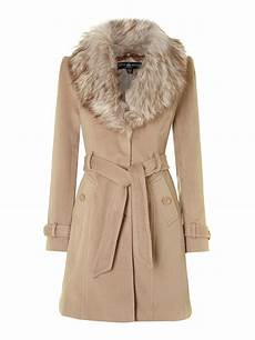 coats with faux fur collar coat in white lyst