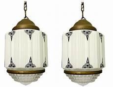 Art Deco Lighting Pair American Art Deco Milkglass Geometric Pendant Lights
