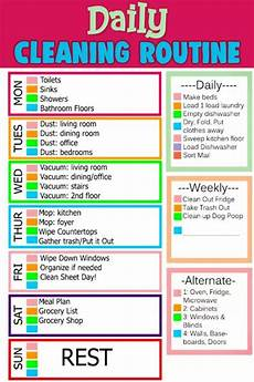 Daily Weekly Monthly Cleaning House Cleaning Schedules Amp Checklists Daily Weekly