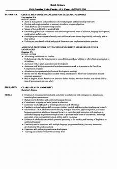 Professor Resume Examples English Professor Resume Samples Velvet Jobs