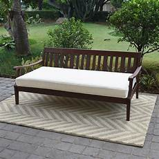 alston wood outdoor sofa daybed day bed with white cushion