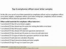 Compliance Cover Letters Top 5 Compliance Officer Cover Letter Samples