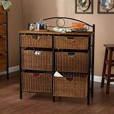 southern enterprises jerome 6 drawer iron and wicker