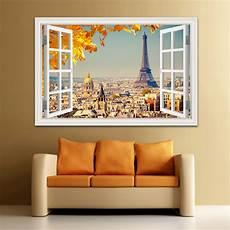 home decor wall 3d window view wall sticker sunset landscape city sticker
