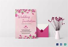 Pink Invitation Card Pink Floral Wedding Invitation Card Design Template In