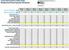 Template For Cash Flow Restaurant Weekly Cash Flow Workbook Spreadsheet