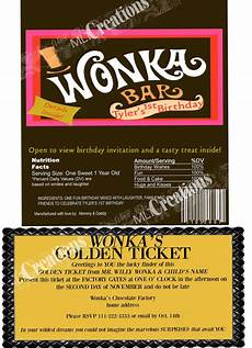 Golden Ticket Invitation Willy Wonka Golden Ticket Invitation Candy Bar Wrapper Set Of