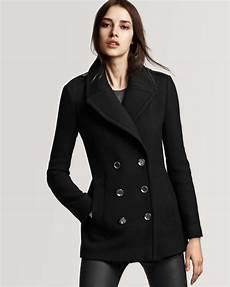 womens pea coats active burberry brit tumblebridge peacoat in black lyst