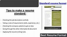 Resume Format Standard Best Resume Format Sample