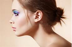 Model Profile Photo Beautiful Profile Face With Bright Fashion Make Up Stock