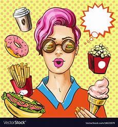 Pop Art Food Pop Art Fast Food Concept Royalty Free Vector Image