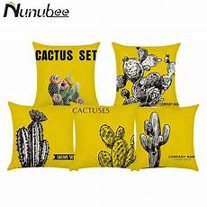 nunubee yellow cactus printed cotton linen cushions cover