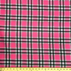 pink saturnia plaid print fabric cotton polyester