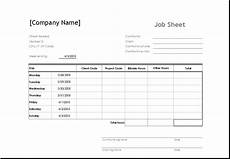 Job Cost Sheet Template Sample Job Sheet Template For Ms Excel Excel Templates