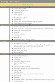 Excel Packing List Template Packing List Template Holiday Travel Packing Lists In