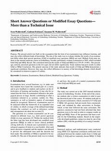 Essay Question Examples Pdf Short Answer Questions Or Modified Essay Questions
