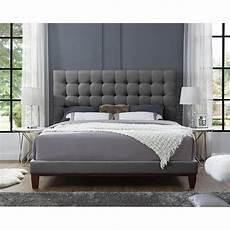 light grey linen bed frame size tufted