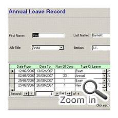 Attendance Access Database Ms Access Annual Leave Attendance Ms Access Databases