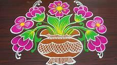 Color Kolam Designs With Dots Simple Colour Kolam For Margazhi Flower Pongal Rangoli