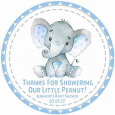 blue elephant baby shower stickers or favor tags