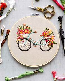 embroidered bicycle with basket of flowers martha stewart