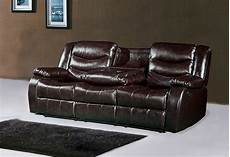 644br brown leather reclining sofa with drop console