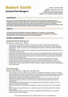 Plant Manager Resume Assistant Plant Manager Resume Samples Qwikresume