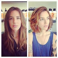 before and after layers to a blunt bob by edo salon